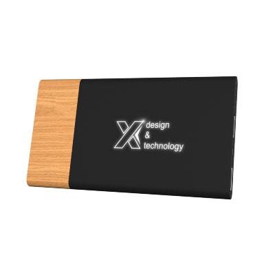 Objet Publicitaire Logo Lumineux Batterie Externe Bois